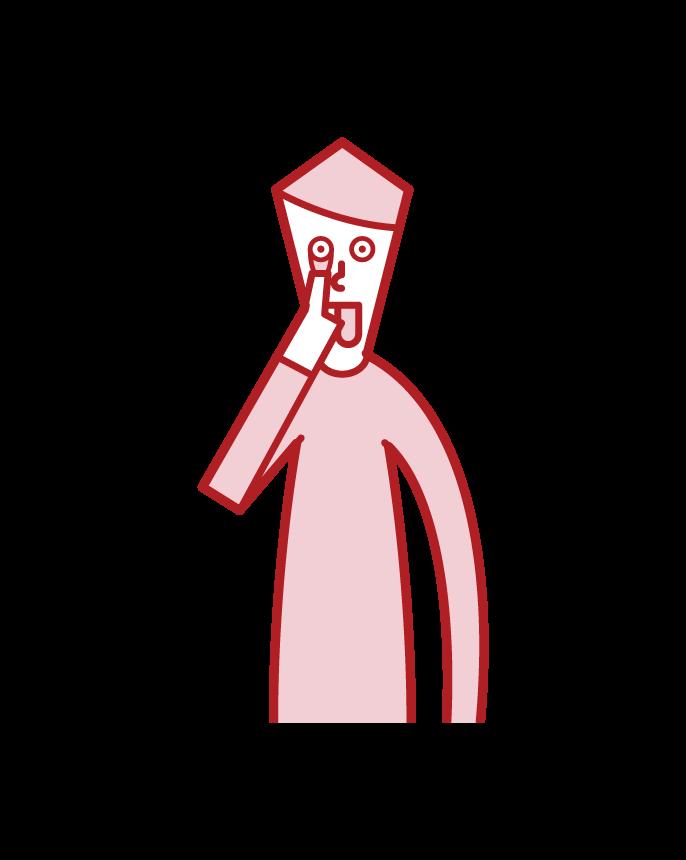 あかんべえをする人(男性)のイラスト