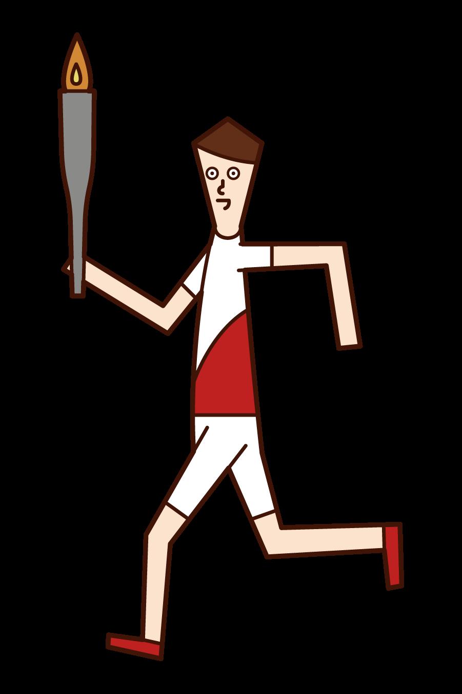 聖火ランナー(男性)のイラスト