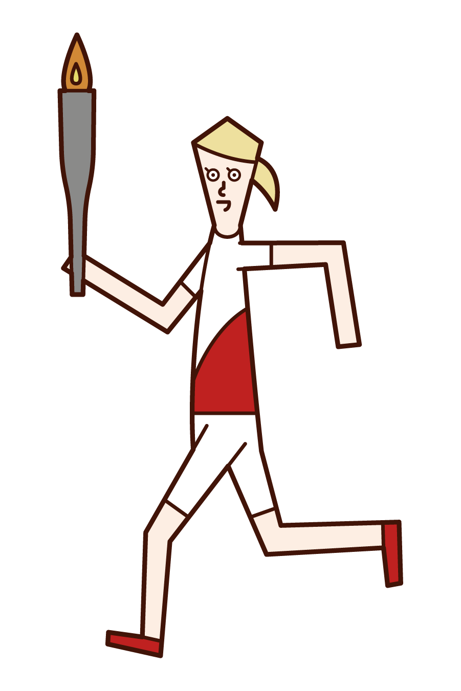 Illustration of a torch runner (woman)