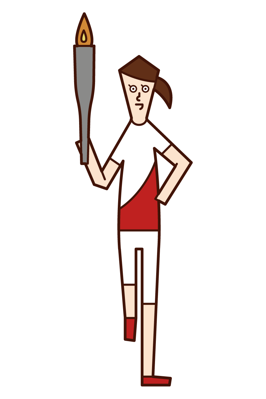 Illustration of a torch runner (female) seen from the front