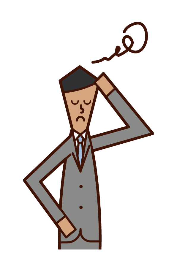 Illustration of a businessman (man) holding a head