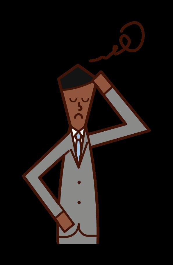 머리를 들고 있는 사업가(남성)의 일러스트