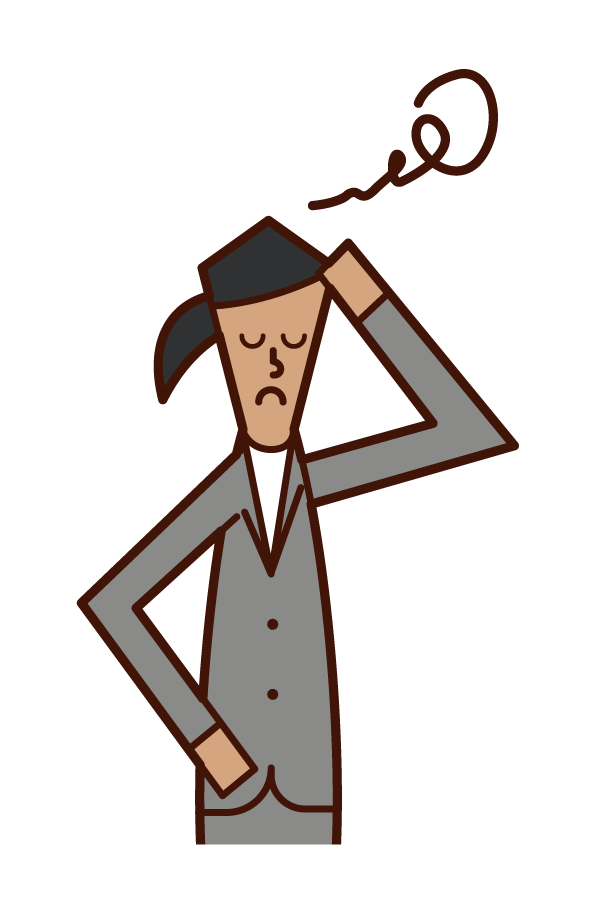 Illustration of a businessman (woman) holding a head