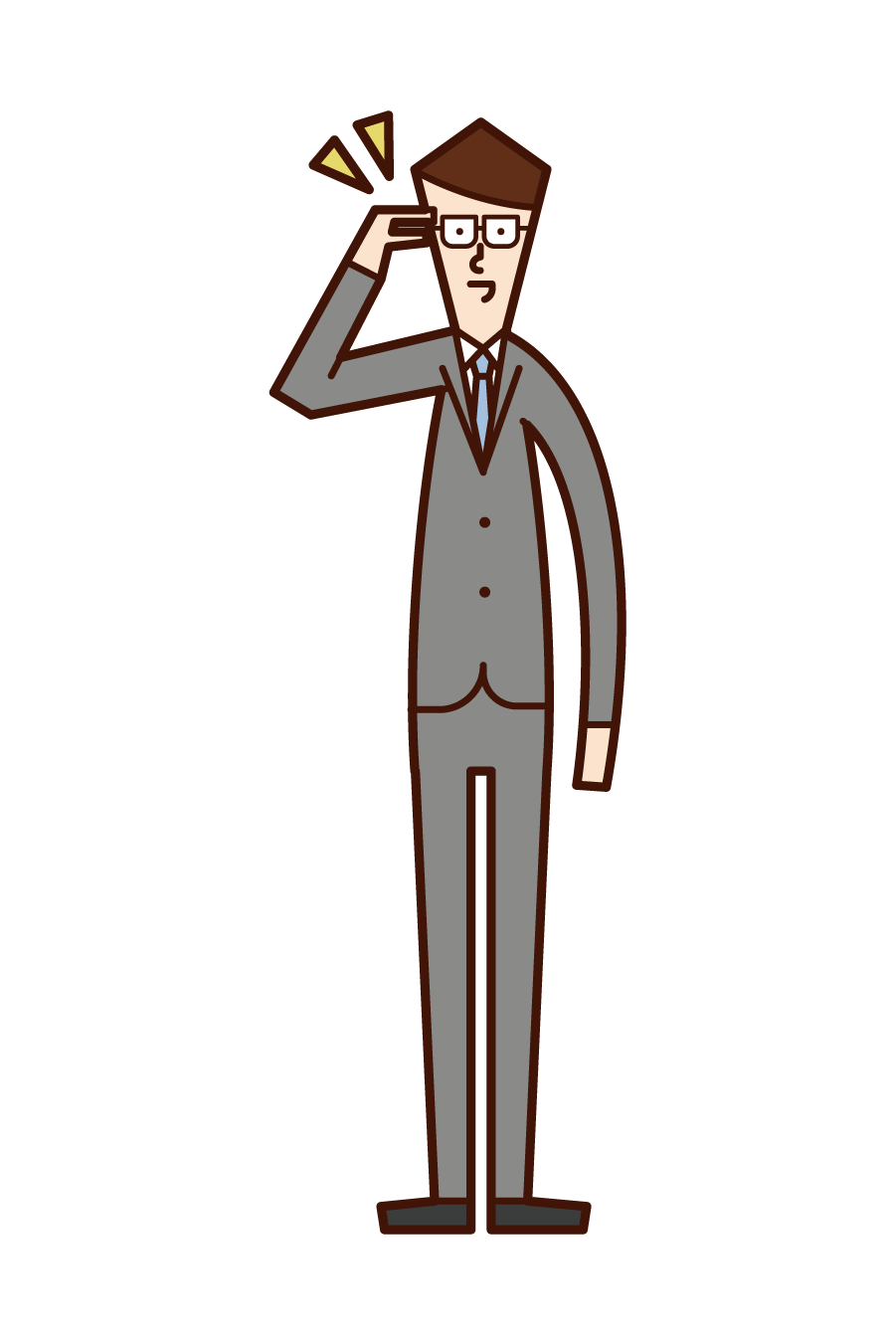 Illustration of a man putting his finger on glasses