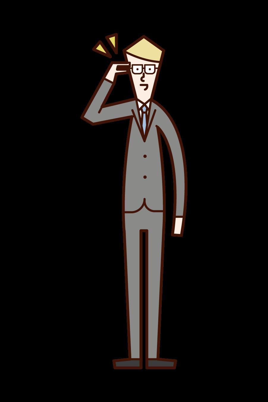 Illustration of a man putting his finger on glasses