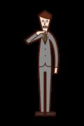 リストラのポーズをする人(男性)のイラスト