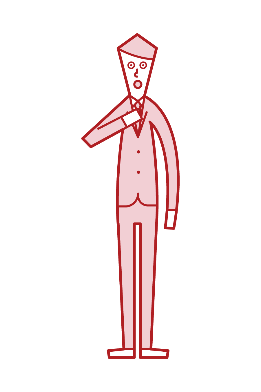 胸に手を当てて深呼吸する人(男性)のイラスト