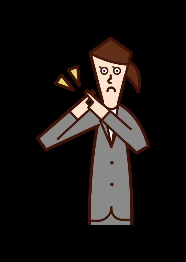 手でハートマークを表現する人(男性)のイラスト
