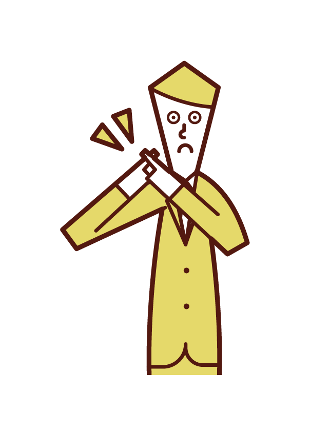 Illustration of a man expressing a badge with his finger