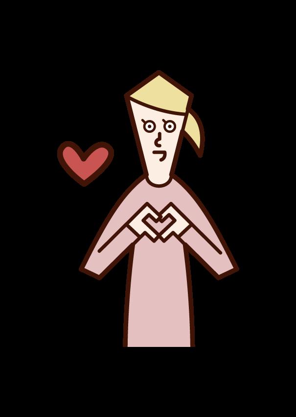 손으로 하트 마크를 표현하는 사람 (여자)의 그림