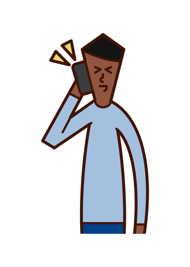Illustration of a person (man) laughing while making a phone call
