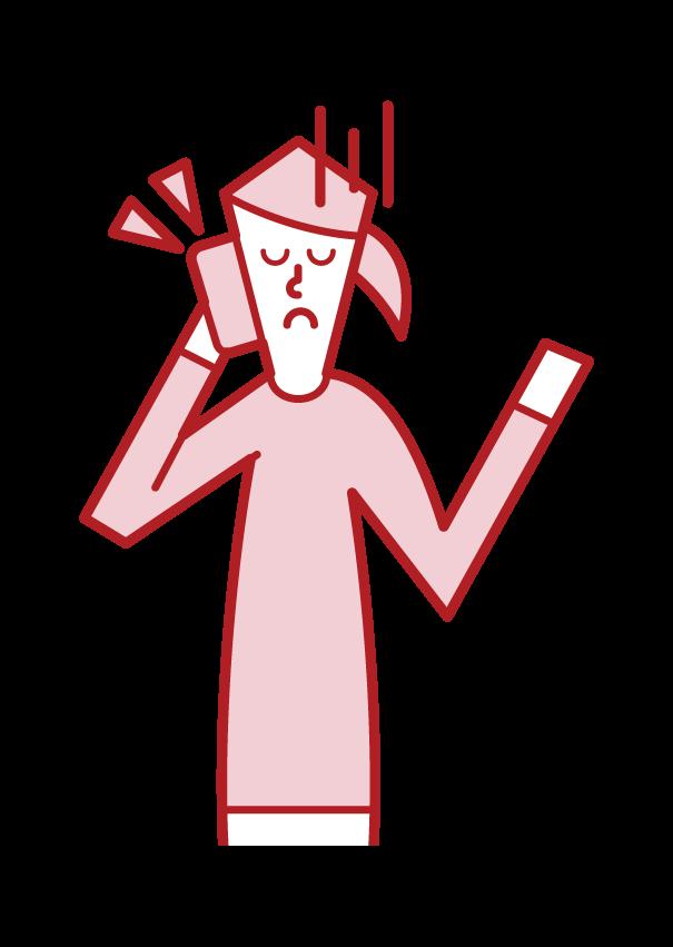電話をしながら呆れる人(女性)のイラスト