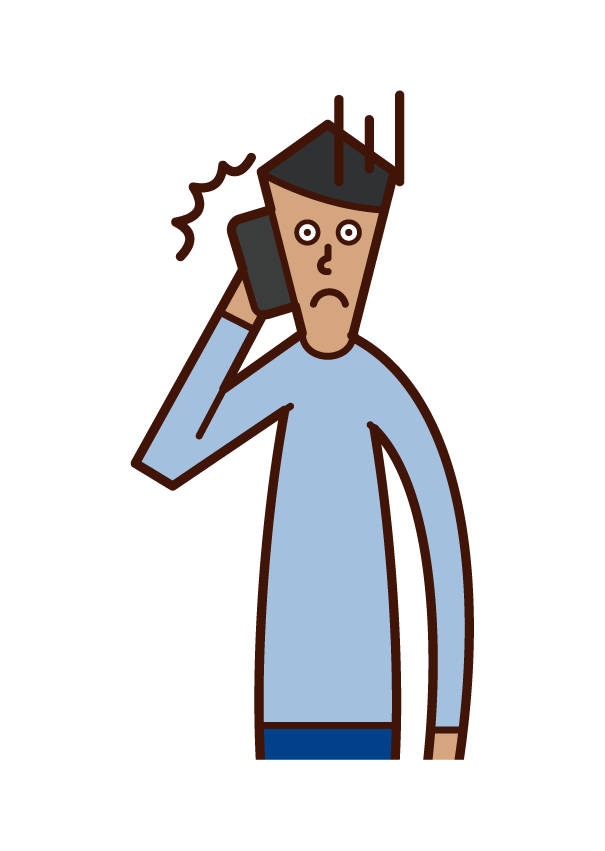 Illustration of a person (man) who gets angry on the phone