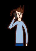 전화로 화가 난 사람(남성)의 일러스트