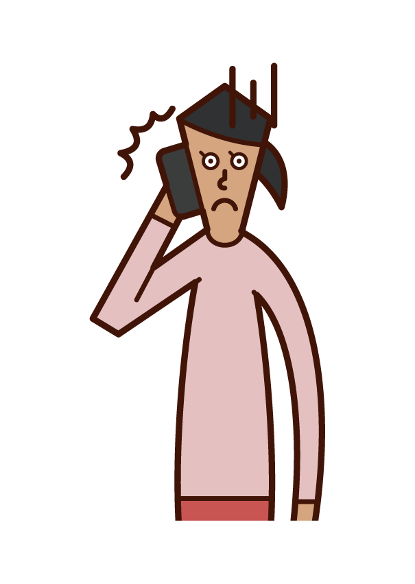 Illustration of a person (woman) who gets angry on the phone