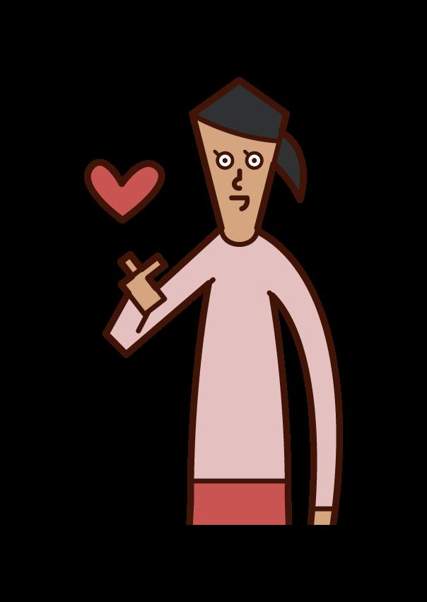 손가락으로 하트 마크를 만드는 사람 (여자)의 그림