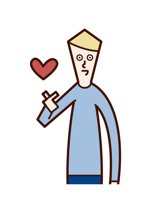 Illustration of a man who makes a heart mark with his finger