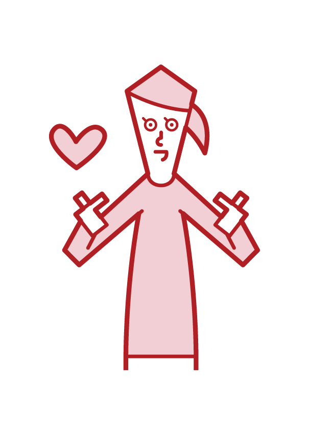 Illustration of a woman who makes a heart mark with the fingers of both hands
