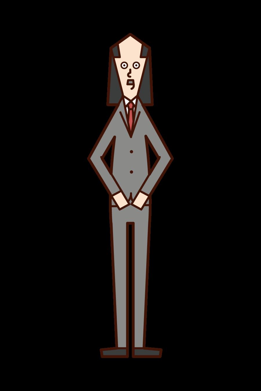 禿げている長髪の人(男性)のイラスト