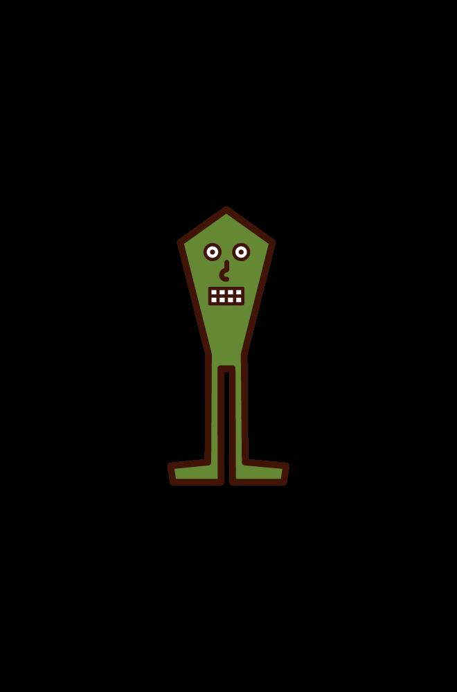 小さい宇宙人の子供のイラスト