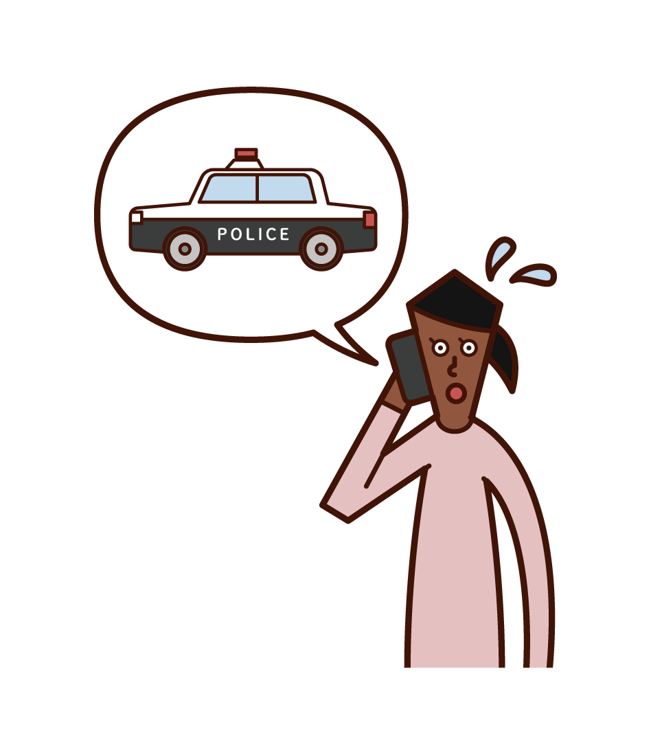 Illustration of a woman calling the police over the phone