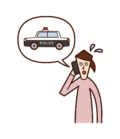 電話で警察を呼ぶ人(女性)のイラスト