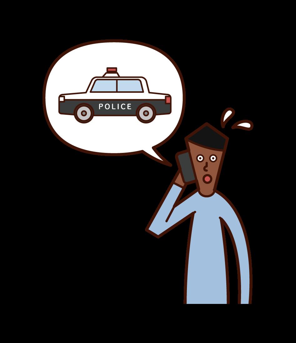 電話で警察を呼ぶ人(男性)のイラスト