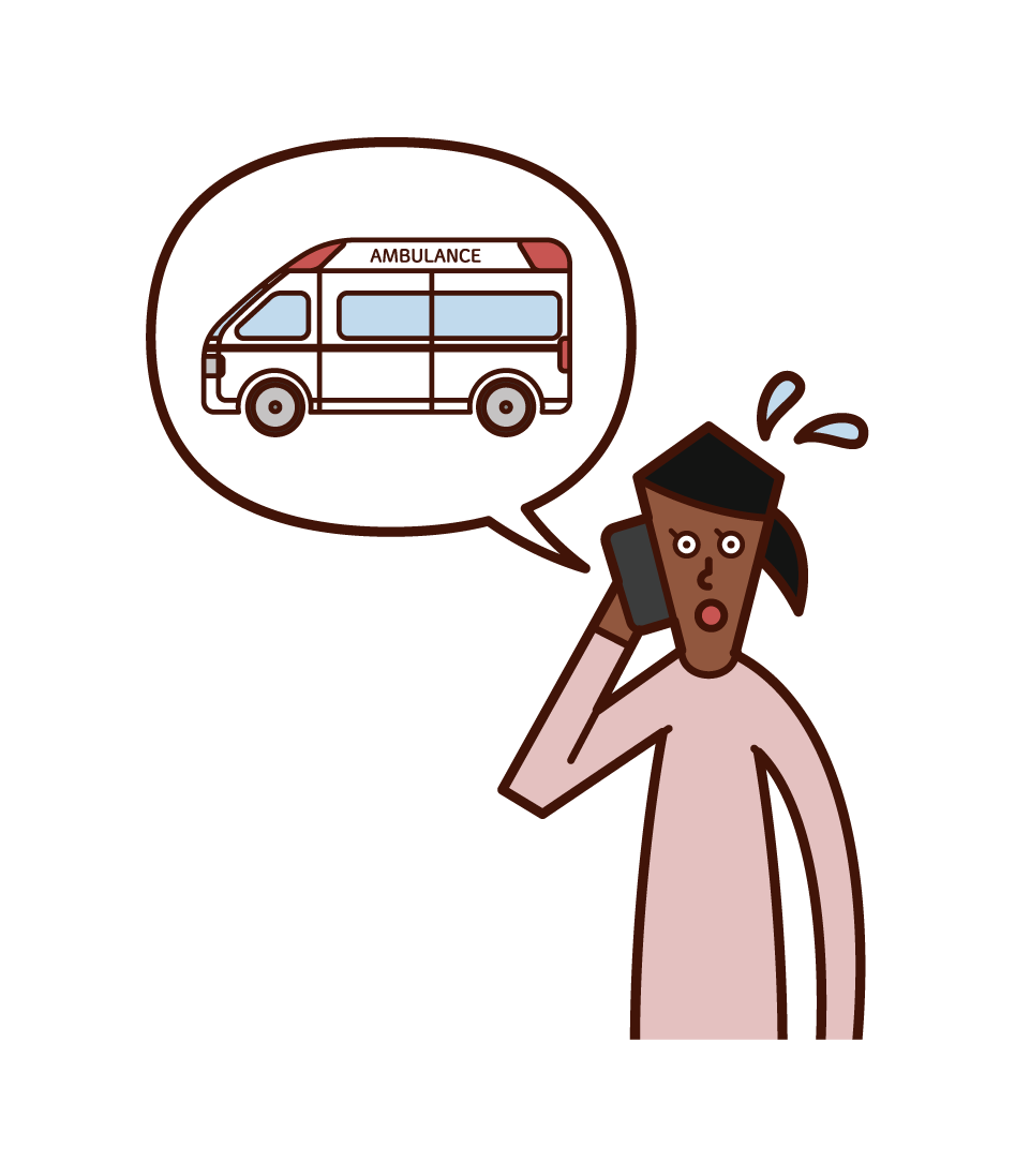 Illustration of a woman calling an ambulance on the phone