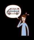 電話で救急車を呼ぶ人(男性)のイラスト