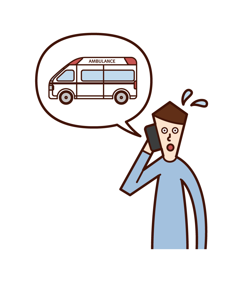 Illustration of a man calling an ambulance on the phone