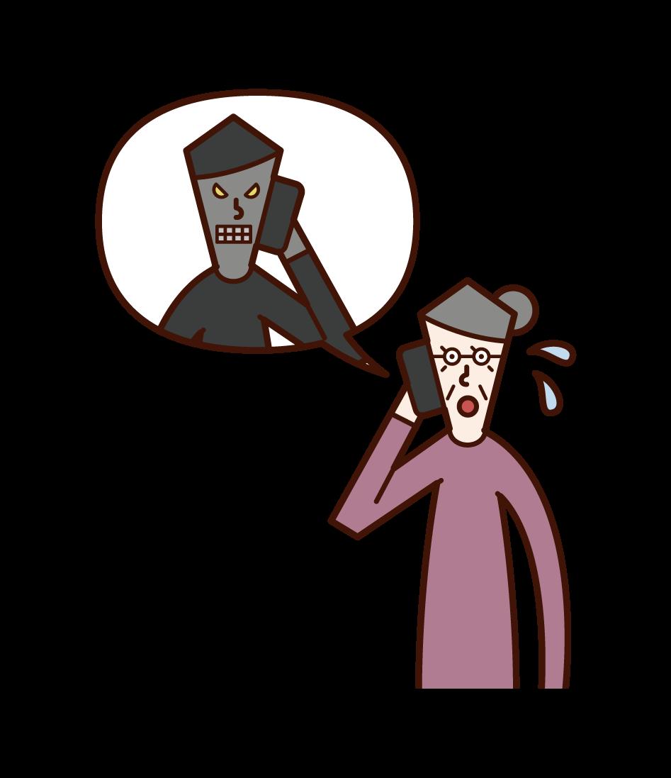 전화로 사기꾼에게 이야기하는 노인 여성의 그림