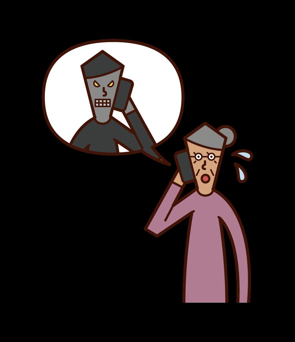 詐欺師と電話で話す高齢者(女性)のイラスト