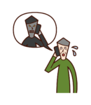 Illustration of an elderly man talking to a con artist on the phone