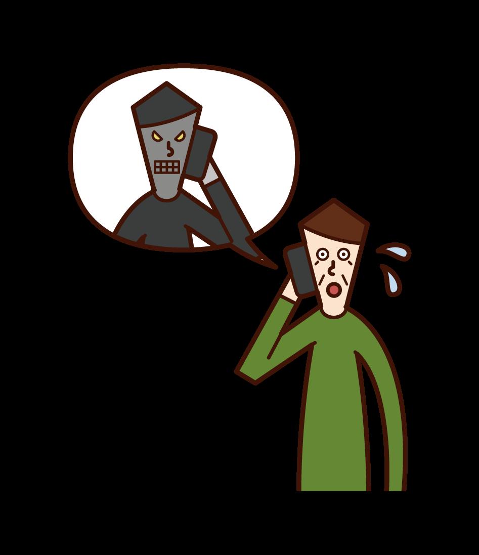 詐欺師と電話で話す高齢者(男性)のイラスト