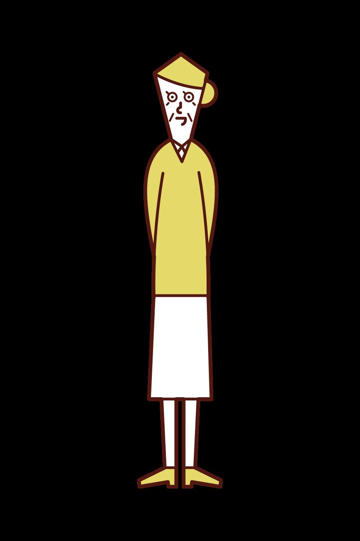 부드러운 노인의 일러스트 (여성)