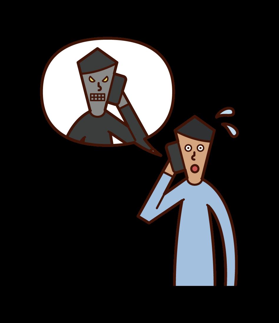 詐欺師と電話で話す人(男性)のイラスト