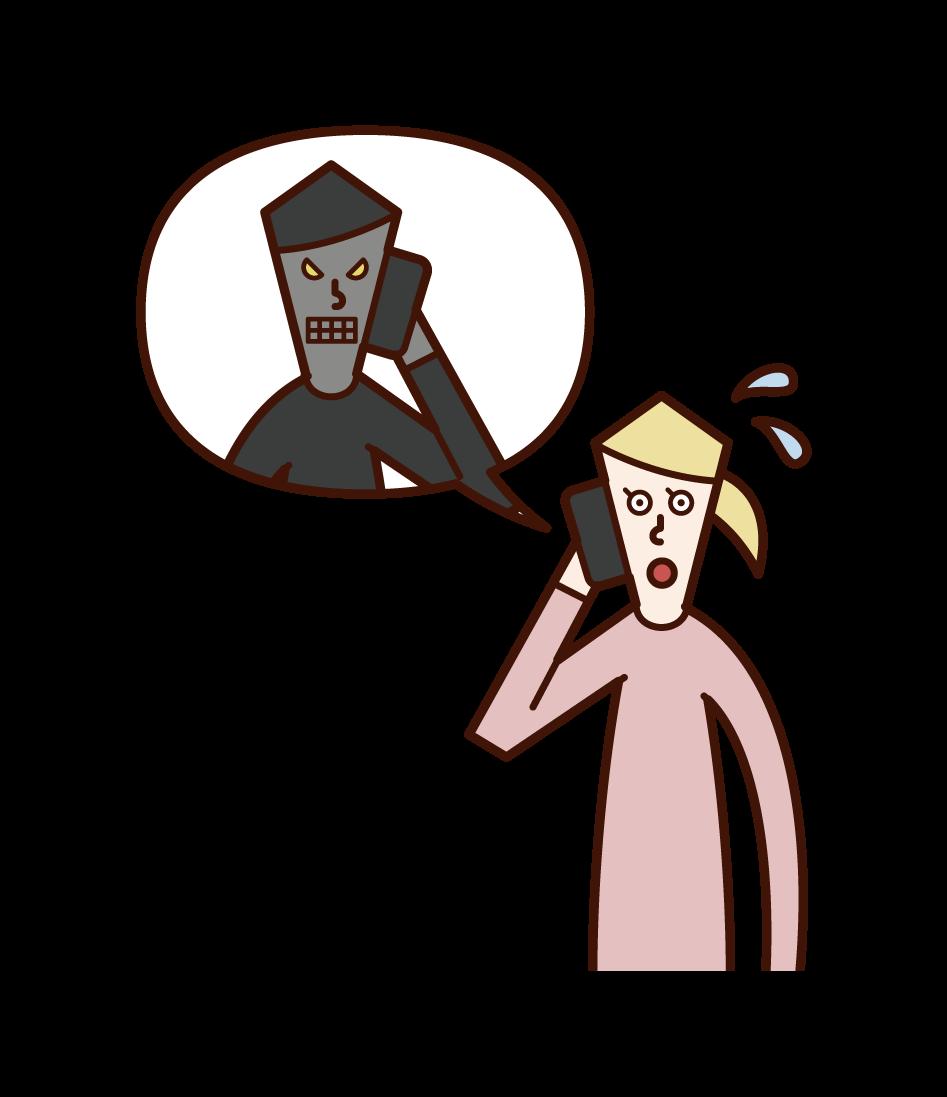 詐欺師と電話で話す人(女性)のイラスト