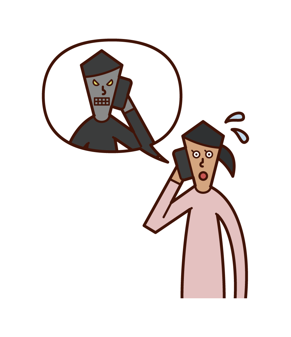 Illustration of a con artist and a woman talking on the phone