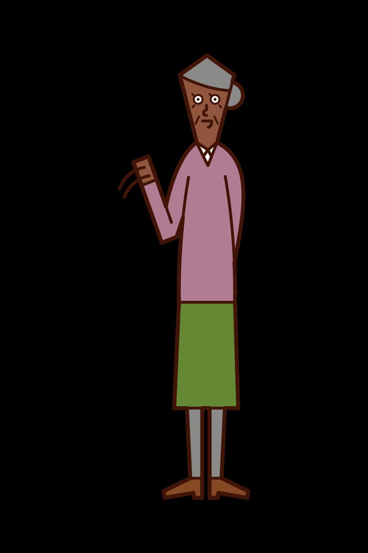 Illustration of an elderly (woman) waving a hand