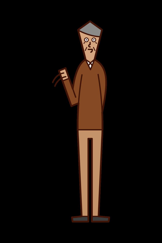 手を振る高齢者(男性)のイラスト