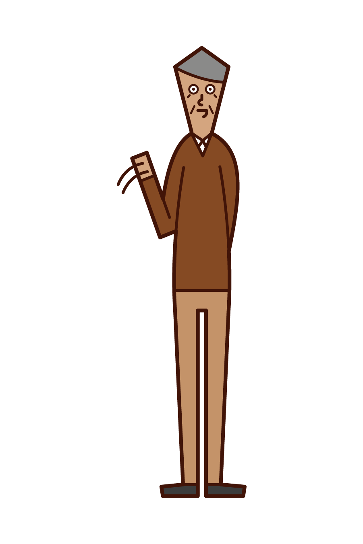 Illustration of an elderly man waving his hand