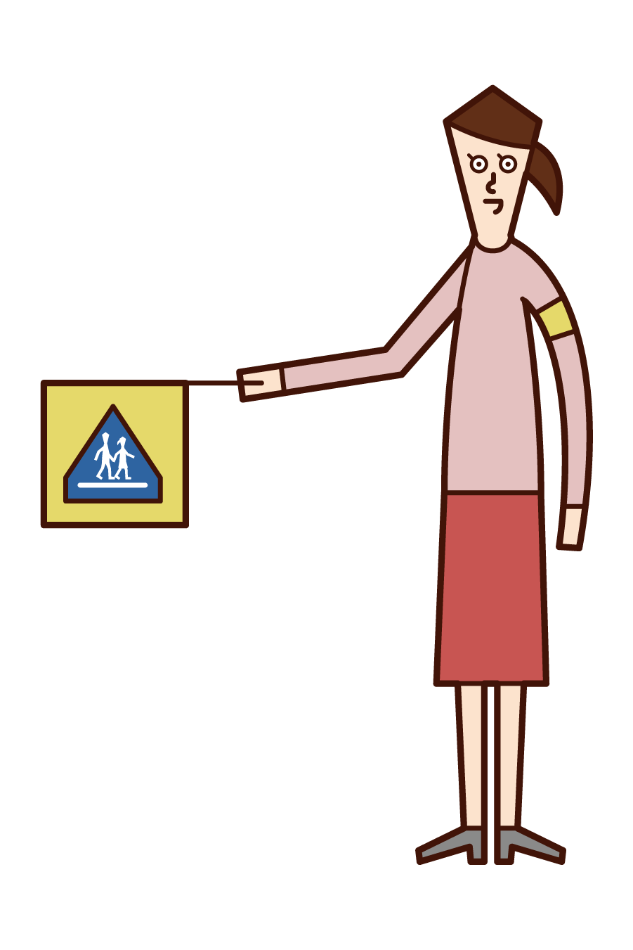 Illustration of a school child defender (woman)