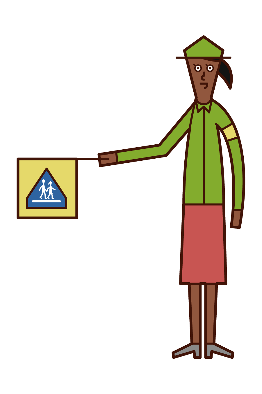 Illustration of a school child defender (woman) wearing a green hat and clothes