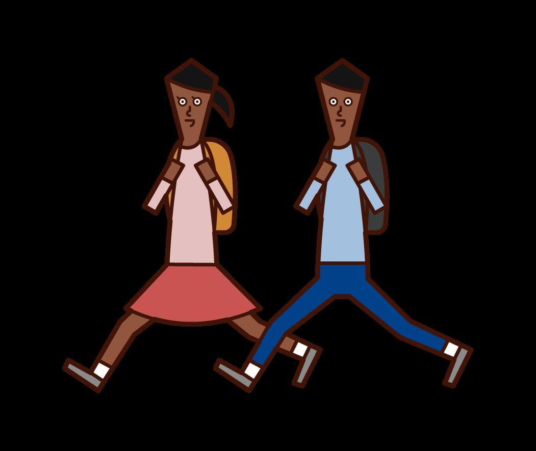 달리기 아이의 일러스트 (남성과 여성)