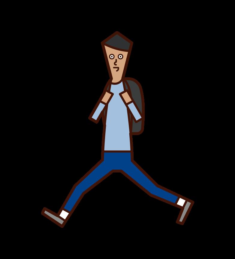 走る子供(少年)のイラスト