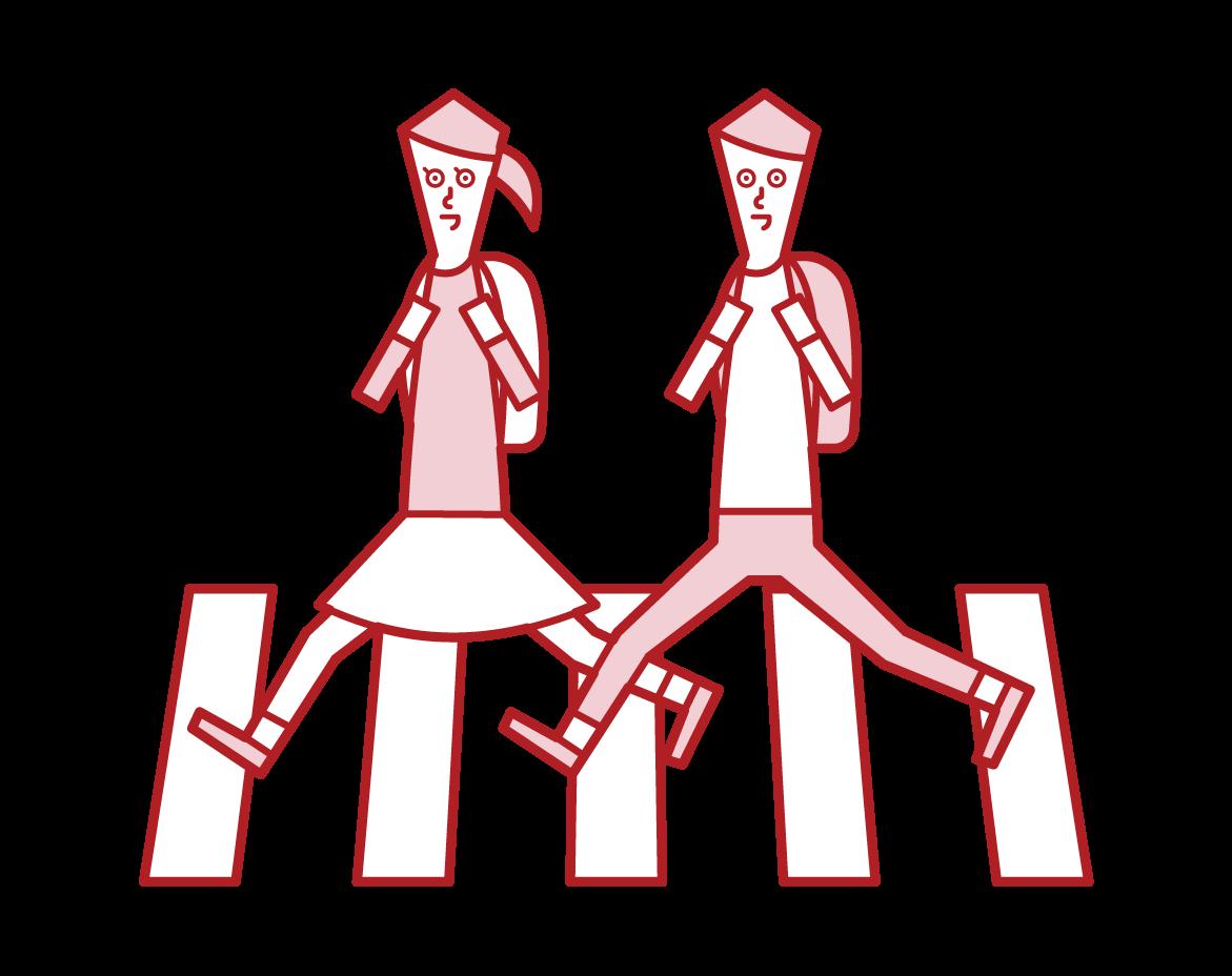 穿過人行橫道的兒童插圖