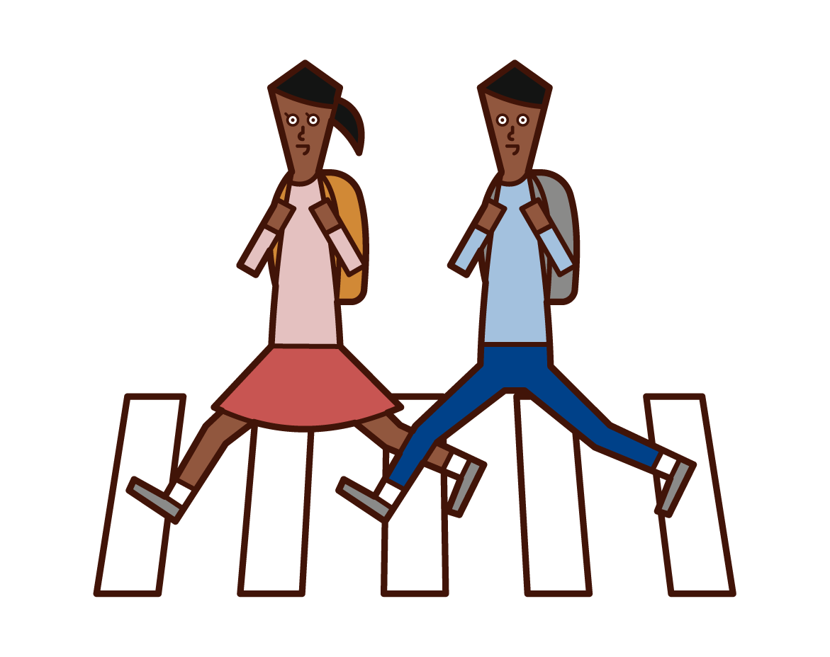 Illustration of a child crossing a pedestrian crossing