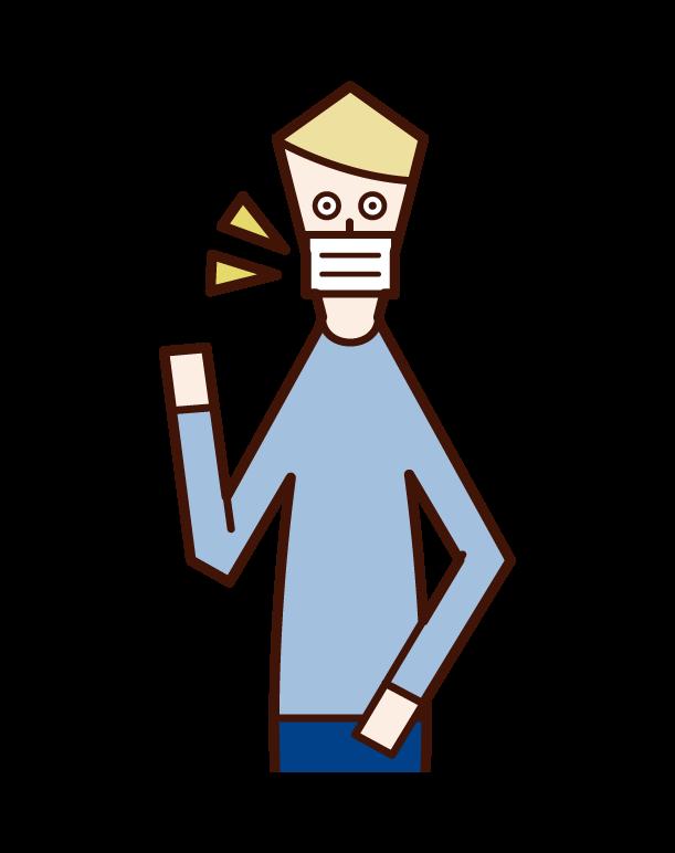 マスクを着用した人(男性)のイラスト