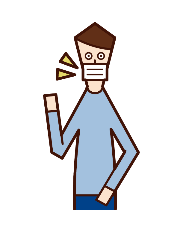 戴口罩的人(男性)的插圖