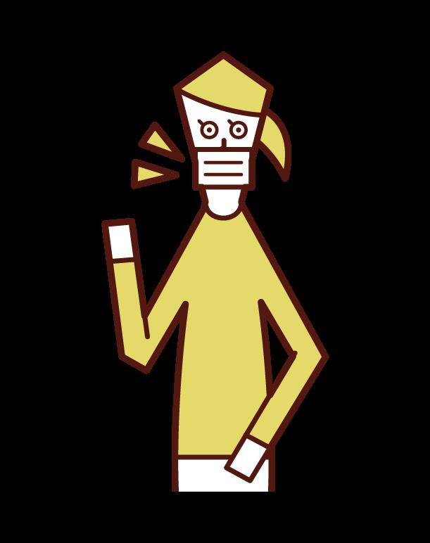 マスクを着用した人(女性)のイラスト